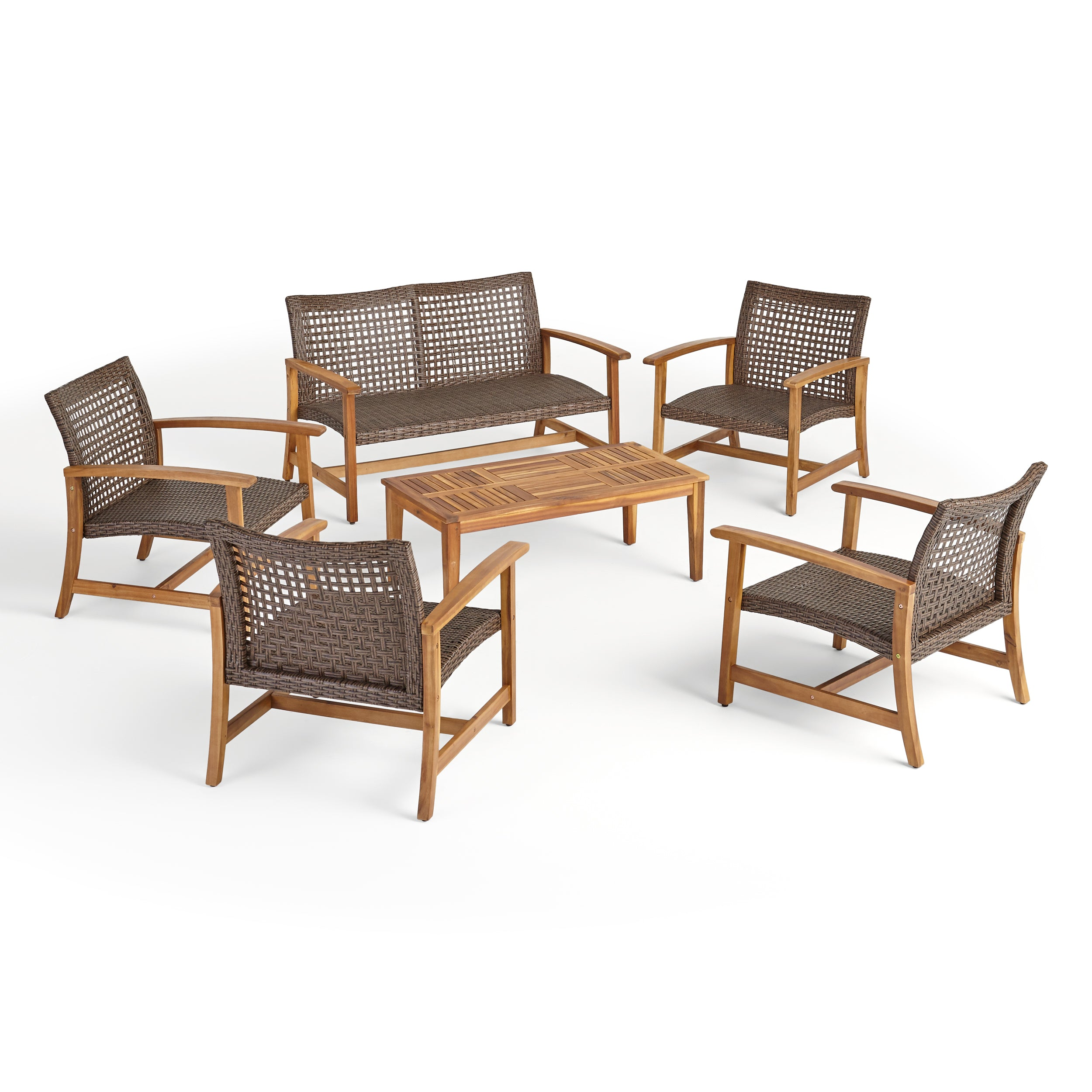 Alyssa Outdoor 6 Piece Wood and Wicker Chat Set Mixed Black Light Gray Washed Finish