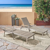 Joy Outdoor Wicker and Aluminum Chaise Lounge, Gray Finish