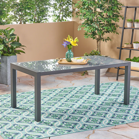 Eli Outdoor Tempered Glass Dining Table with Aluminum Frame