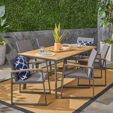 Carl Outdoor 7 Piece Aluminum and Mesh Dining Set with Wood Top