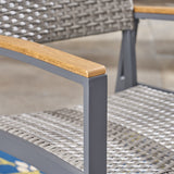 Aubrey Outdoor Wicker Dining Chairs with Aluminum Frame (Set of 2), Gray
