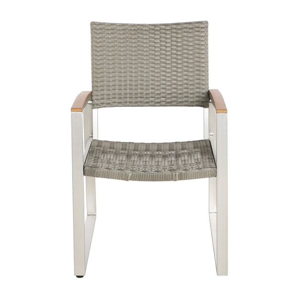 Eunice Outdoor 2 Seater Aluminum And Wicker Chat Set Gdf
