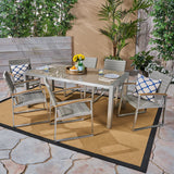 Moore Outdoor 7-Piece Aluminum Dining Set with Glass Table Top