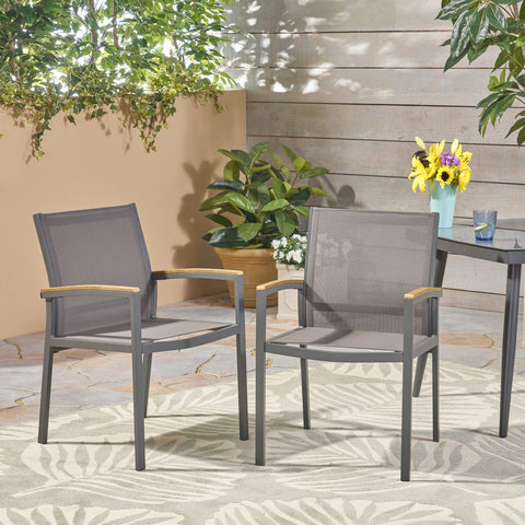 Emma Outdoor Mesh and Aluminum Frame Dining Chair (Set of 2), Gray