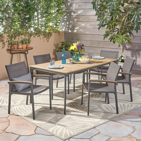 Lance Outdoor 7 Piece Aluminum and Mesh Dining Set with Wood Top