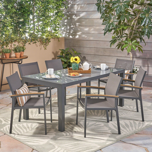 Jamie Outdoor Aluminum and Mesh 7 Piece Dining Set with Glass Table Top