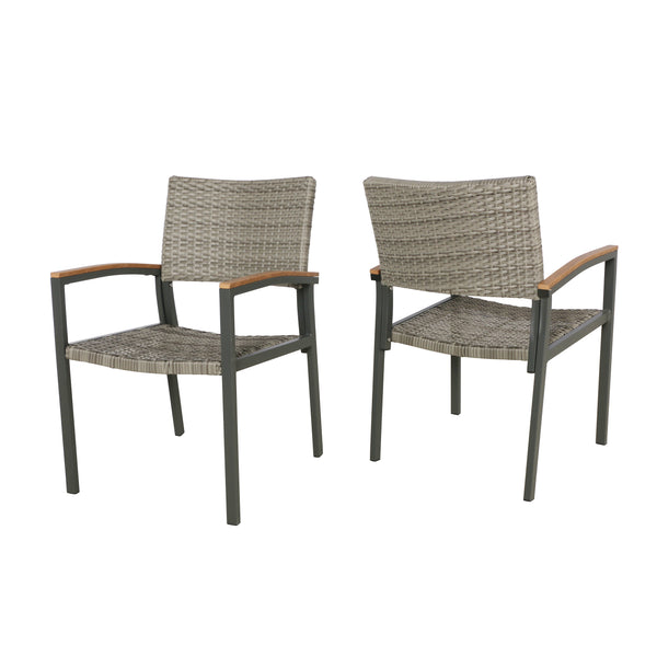 Emma Outdoor Wicker Dining Chair with Aluminum Frame (Set of 2)