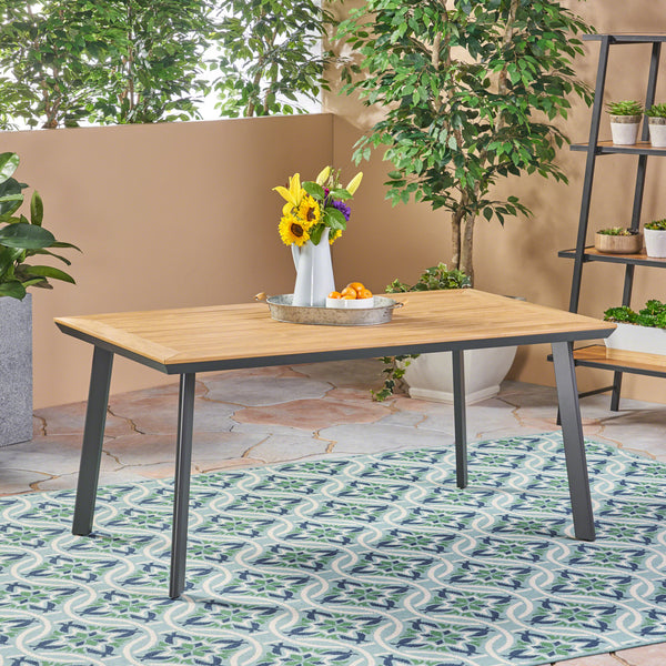 Able Outdoor Aluminum and Faux Wood Dining Table, Natural