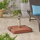 Larissa Outdoor 119lb Concrete Square Umbrella Base with Stainless Steel Collar