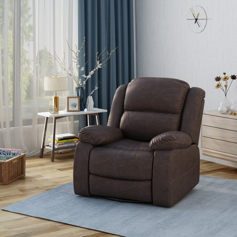 Flora Classic Tufted Leather Swivel Recliner, Dark Brown