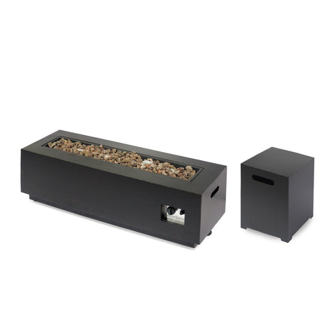 Jefferson Outdoor Rectangular Fire Pit with Tank Holder