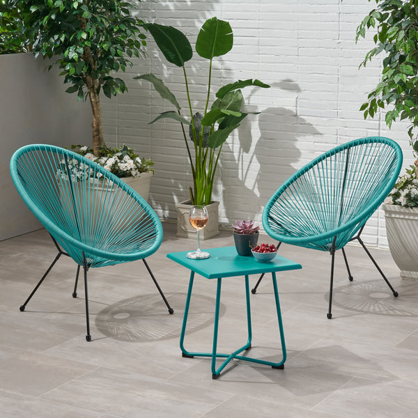 Alexis Outdoor Woven 3 Piece Chat Set