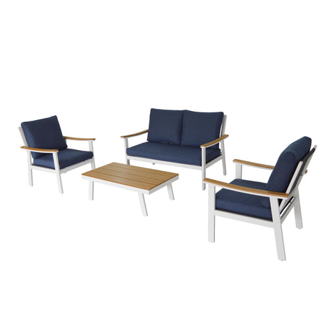 Agnes Outdoor 4 Piece Aluminum and Faux Wood Chat Set with Cushions