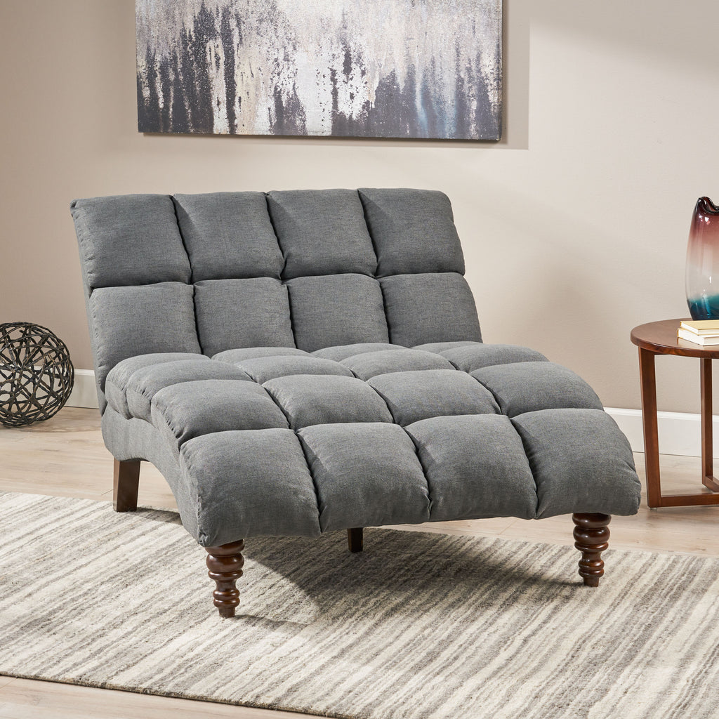 Olympia Modern Tufted Fabric Double Chaise Lounge Gdfstudio