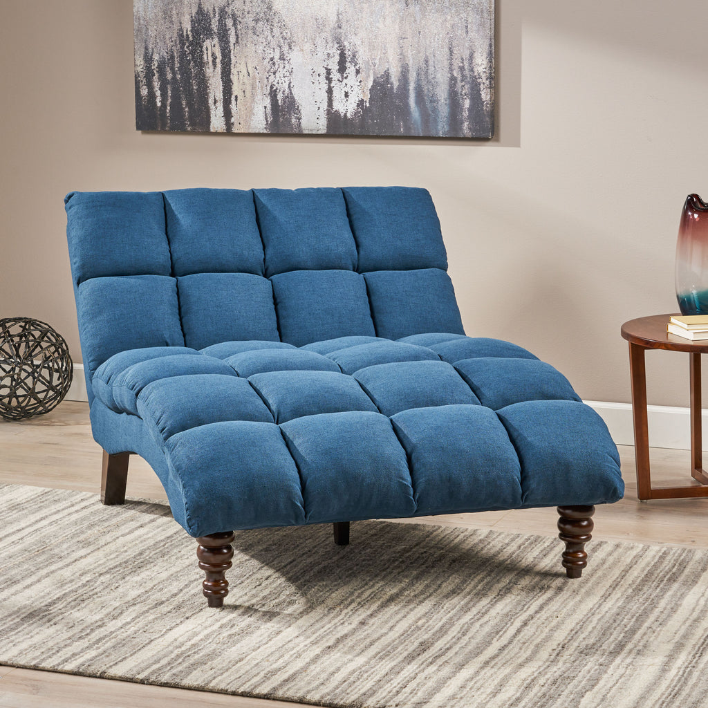 Olympia Modern Tufted Fabric Double Chaise Lounge