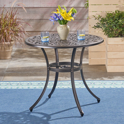 Buda Outdoor Cast Aluminum Dining Table, Shiny Copper
