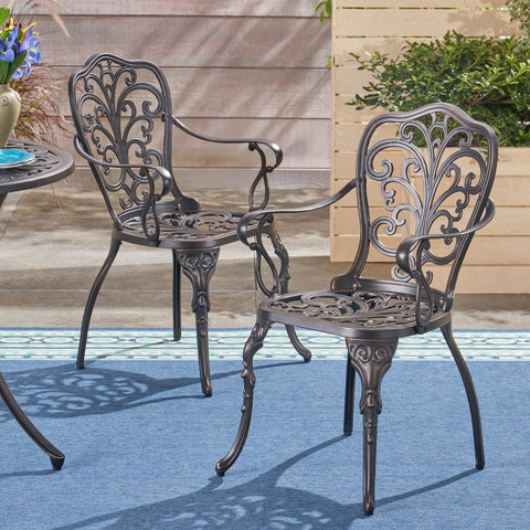 Buddy Outdoor Cast Aluminum Dining Chair (Set of 2), Shiny Copper