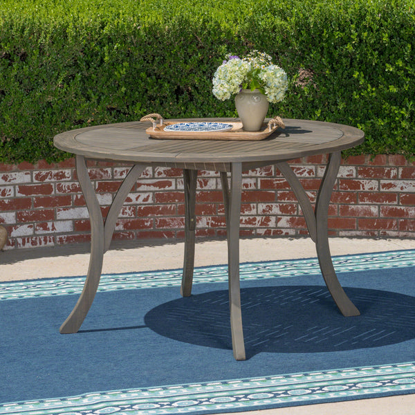 "Adn Outdoor 47"" Round Acacia Wood Dining Table"