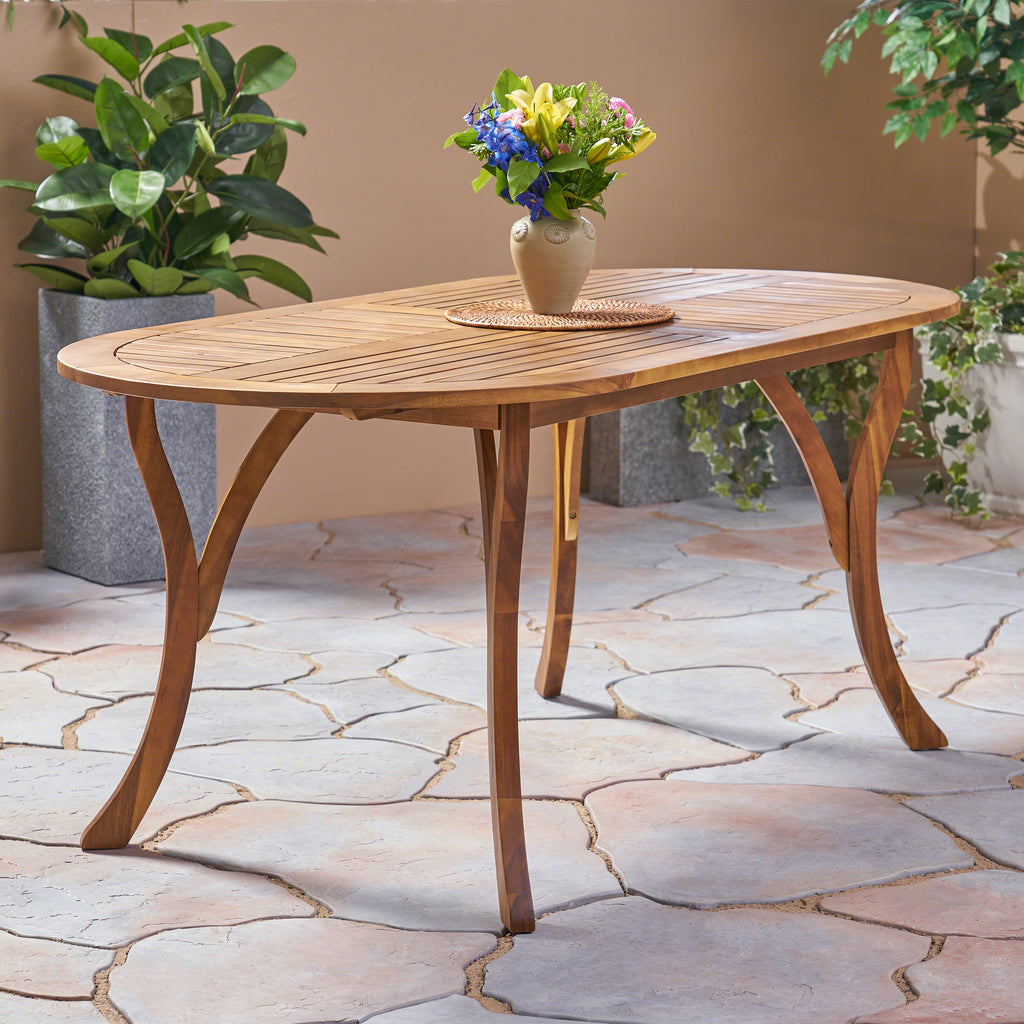 Pleasing Baia Outdoor 70 Inch Oval Acacia Wood Dining Table Teak Caraccident5 Cool Chair Designs And Ideas Caraccident5Info