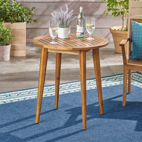 Stanford Outdoor Round Acacia Wood Bistro Table with Straight Legs, Teak