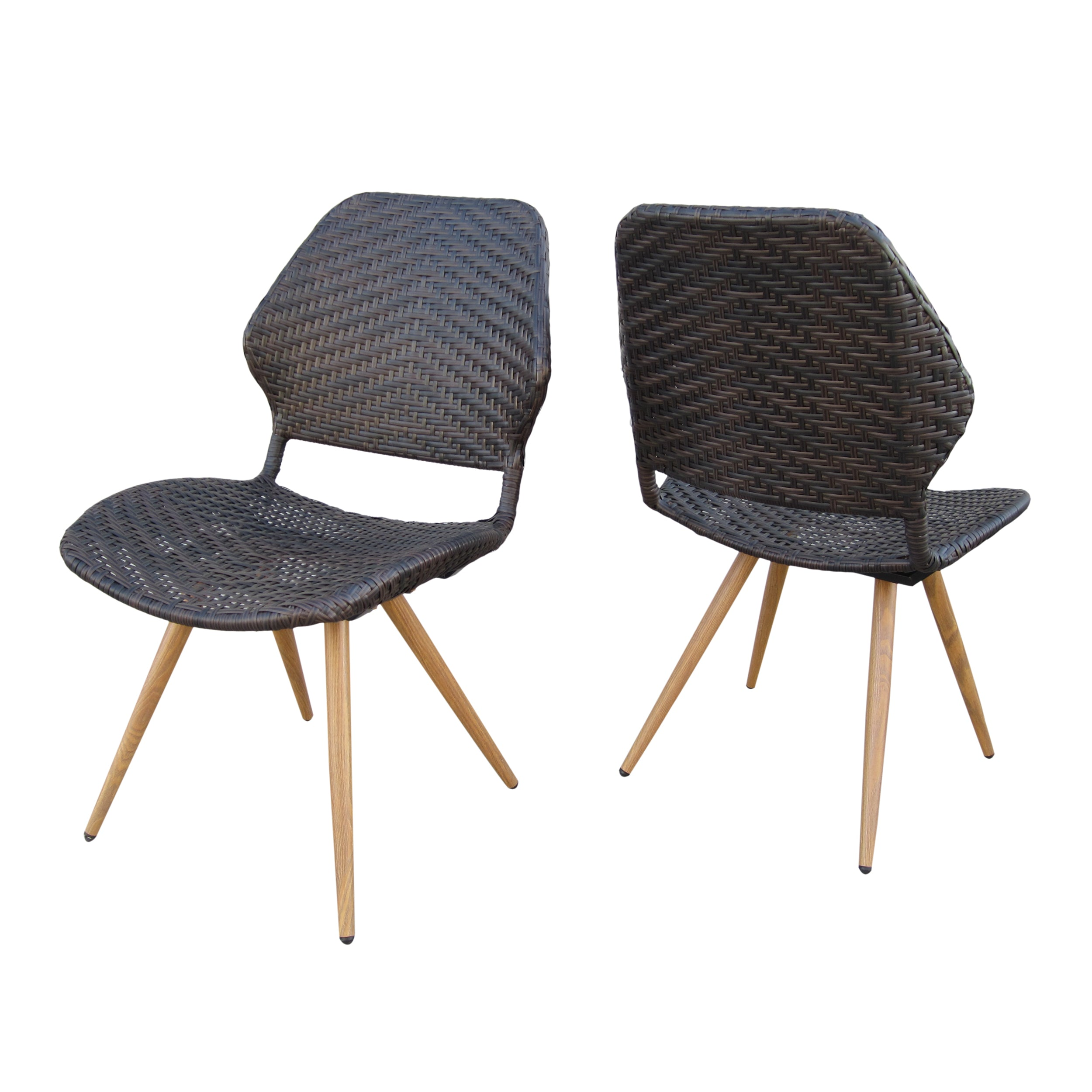Amaya Outdoor Multi brown Wicker Dining Chairs with Brown Wood Finish Metal Legs Set of 2