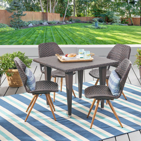 Aliza Outdoor 5 Piece Wicker Dining Set, Multibrown