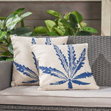 "Stella Outdoor 18"" Water Resistant Square Pillows, Blue on Beige"