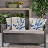 Stella Outdoor 18-inch Water Resistant Square Pillows, Blue on Beige