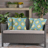 Larissa Outdoor 18-inch Water Resistant Square Pillows, Blue and Green