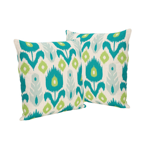 "Diego Outdoor 18"" Water Resistant Square Pillows (Set of 2)"