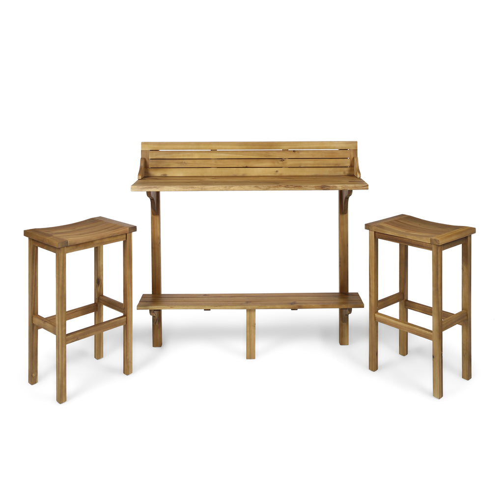 Pensacola Outdoor 3 Piece Acacia Wood Balcony Bar Set