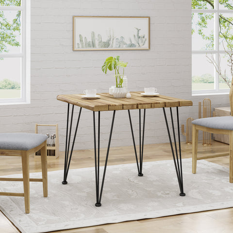 Avy Rustic Industrial Acacia Wood Dining Table with Metal Hairpin Legs, Teak
