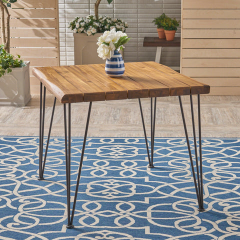 Avy Outdoor Rustic Industrial Acacia Wood Dining Table with Metal Hairpin Legs, Teak