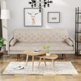 Truda Mid Century Modern Microfiber Sofa with Button Accents