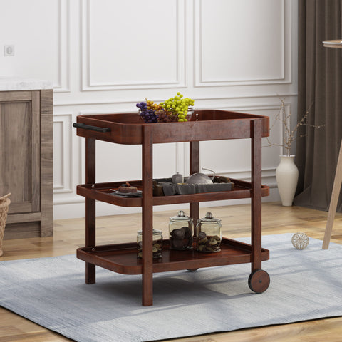 Morse Bar Cart  3-Tiers  Solid Acacia Wood  Brown Mahogany Finish