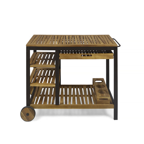 Ishtar Outdoor Acacia Wood Bar Cart with Reversible Drawers and Wine Bottle Holders