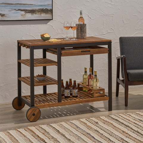 Ishtar Indoor Wood and Iron Bar Cart with Drawers and Wine Bottle Holders