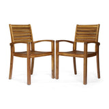 Watts Outdoor Acacia Wood Dining Chairs (set of 2)