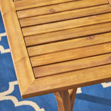 Carr Outdoor 4-Seater Square Acacia Wood Dining Set, Teak Finish