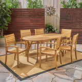 Powell Outdoor 6-Seater Oval Acacia Wood Dining Set