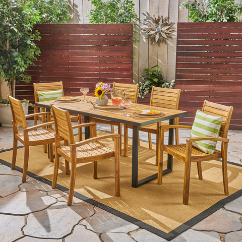 Alderson Outdoor 6-Seater Rectangular Acacia Wood Dining Set, Teak and Black