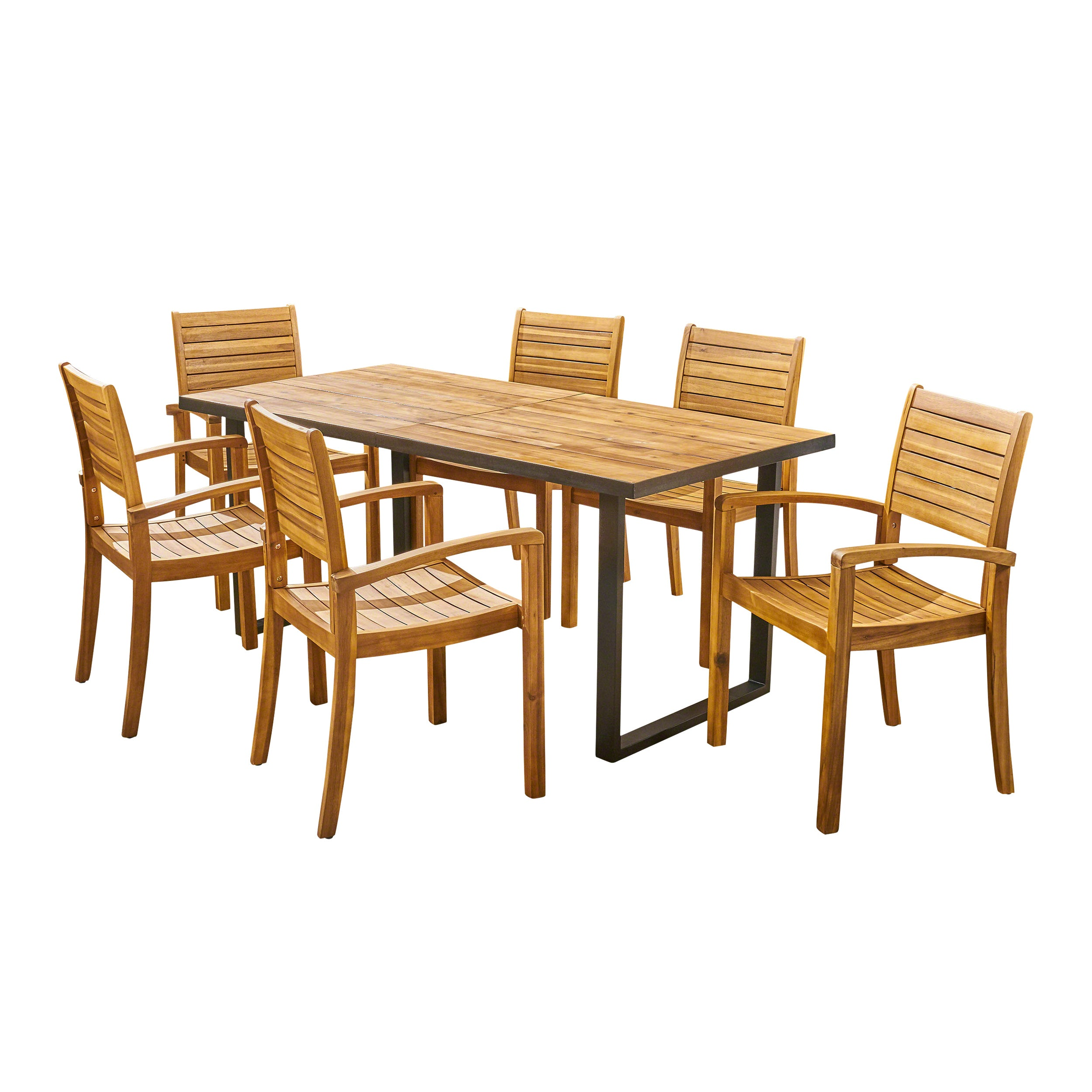 Alderson Outdoor 6 Seater Rectangular Acacia Wood Dining Set Teak and Black Default Title