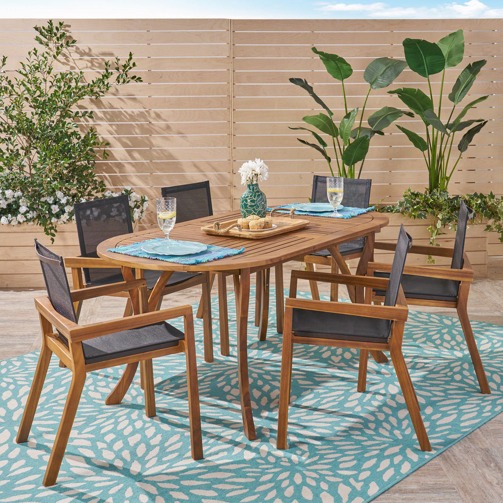 Pitt Outdoor Acacia Wood 6 Seater Patio Dining Set with Mesh Seats