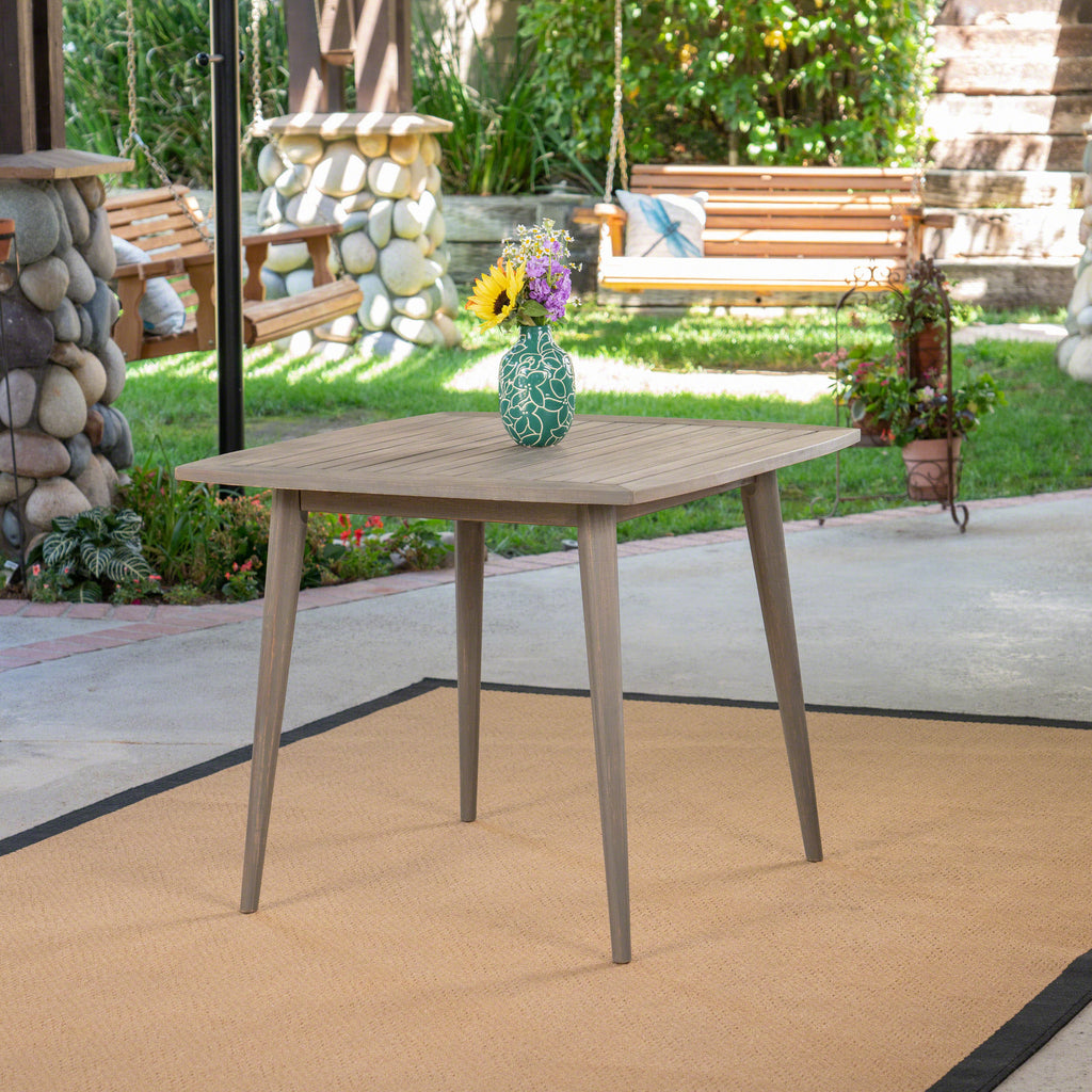 Stanford Outdoor Square Acacia Wood Dining Table With Straight Legs U2013 GDF  Studio