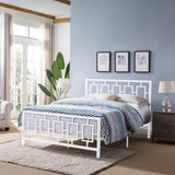Dawn Queen-Size Geometric Platform Bed Frame, Iron, Modern, Low-Profile