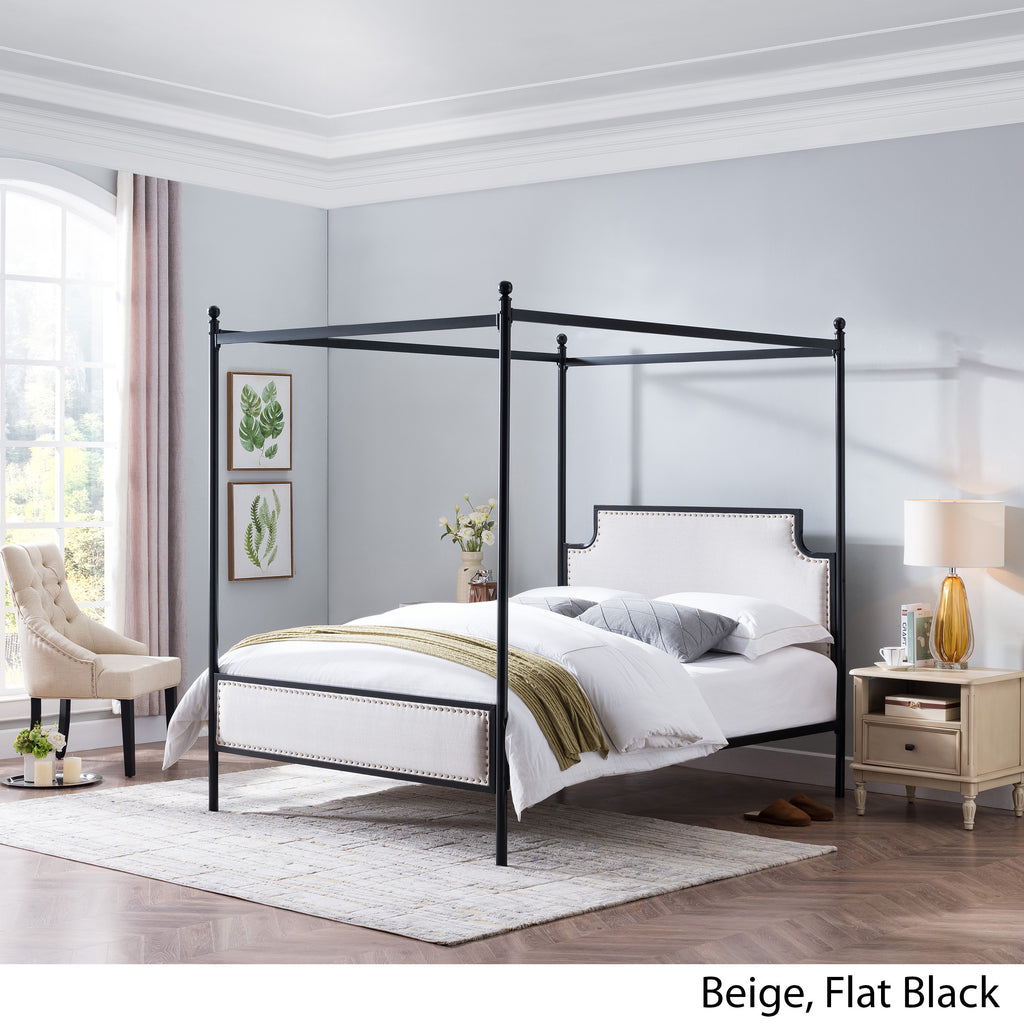 Asa Queen Size Iron Canopy Bed Frame with Upholstered Studded Headboard