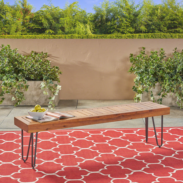 Abbet Outdoor Industrial Wood and Metal Bench
