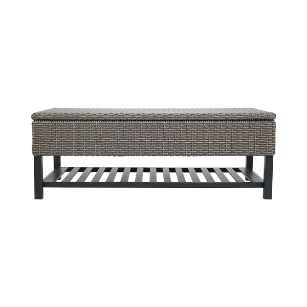 Martina Storage Bench with Rack, Wicker with Iron Frame
