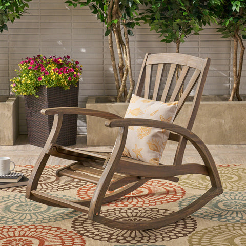 Alva Outdoor Acacia Wood Rocking Chair with Footrest