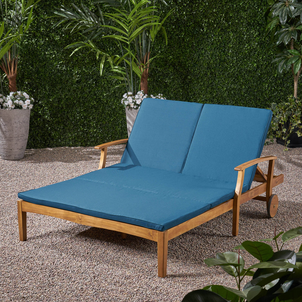 Samantha Double Chaise Lounge For Yard And Patio Acacia Wood Frame Gdfstudio